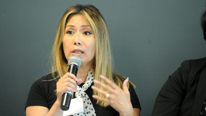 Grace Tuazon, executive director of the Filipino American Council of Ventura County, speaks during a gathering Wednesday at the Ventura County Community Foundation designed to alert local leaders to the importance of 2020 U.S. Census. Officials say the stakes are high but there are obstacles to getting an accurate count.