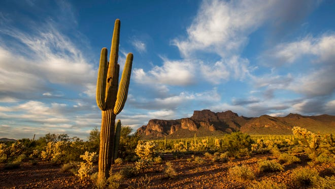 The sun sets over the Superstition Mountains in Apache Junction, Ariz.