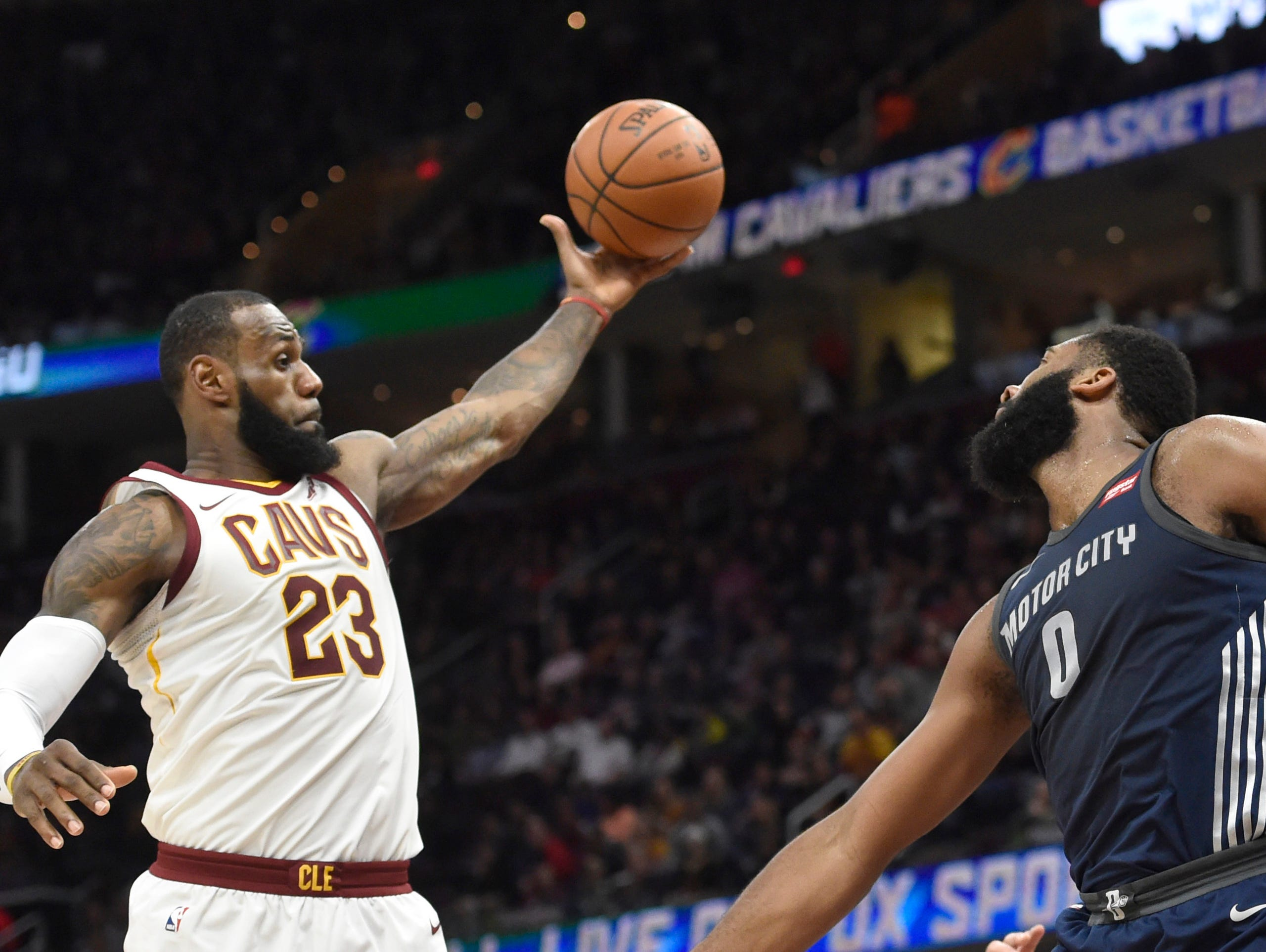 Cleveland Cavaliers forward LeBron James (23) rebounds