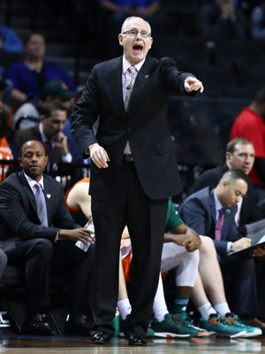 Miami Hurricanes coach Jim Larranaga gestures during a game against the North Carolina Tar Heels in the quarterfinals of the ACC tournament at the Barclays Center on March 9, 2017 in New York City.