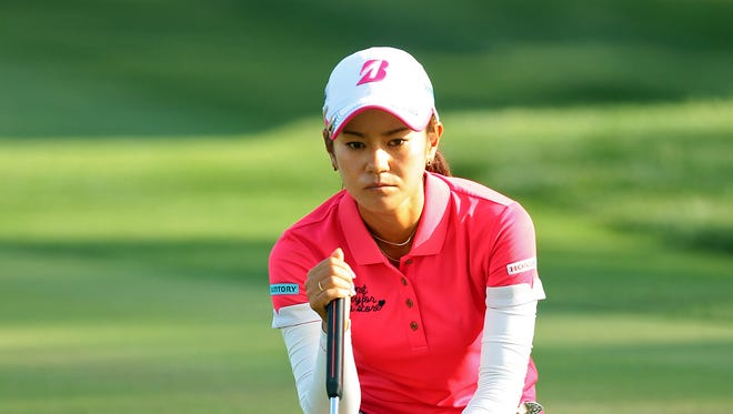 Ai Miyazato of Okinawa, Japan reads her putt on the seventh green of the Dinah Shore Tournament Course during the ANA Inspiration's first round Thursday, April 2, 2015 at Mission Hills Country Club in Rancho Mirage, Calif. Miyazato parred the hole, but had two birdies on the front nine to finish at -4 on the day and in second place for the tournament.