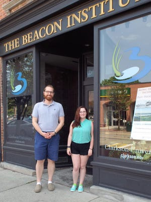 "Asher Pacht, director of development for the Beacon Institute of Rivers and Estuaries of Clarkson University, stands outside the environmental organization's office/gallery with Allison Montroy, winner of the 2016 Barnabas McHenry Hudson Valley Award in the environmental conservation category, who is working on an upcoming exhibition at the site, ""Hudson River Science: A Data-Driven Interpretive Exhibit."""
