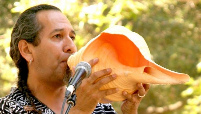 """During his """"Aztec Stories"""" presentations, Michael Heralda performs on traditional Aztec Mexican and Maya instruments."""