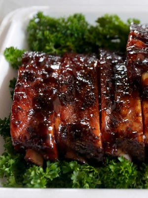 Ribs are one of four meats scored at Kansas City Barbecue Society competitions. The other meats are chicken, pork and beef brisket.
