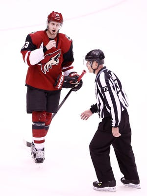 Arizona Coyotes defenseman Oliver Ekman-Larsson questions an official against Detroit Red Wings in the thirrd period on Jan. 14, 2016, in Glendale, Ariz.