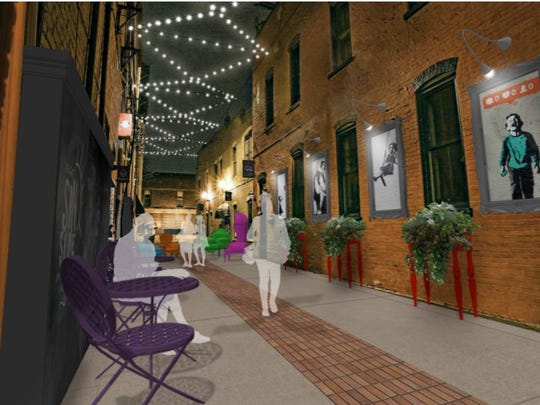 This rendering shows what Peanut Row, an alleyway in downtown Howell, will look like after it is improved as a community gathering space and public art gallery.