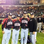 Freedom all-stars, from left, Gaby Juarbe, Daniel Fraga, Sam Eberle and coach AJ Cicconi at the Frontier League All-Star Game July 15.
