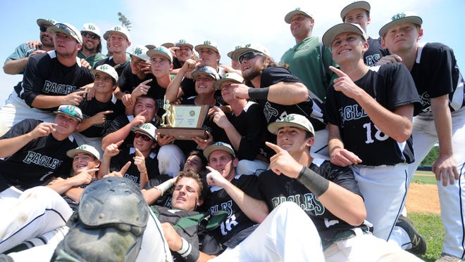 West Deptford celebrates their Group 2 state final victory after defeating Parsiappany 2-1 in 8 innings at Toms River East. 6.11.16. Joe Warner/For the Courier-Post