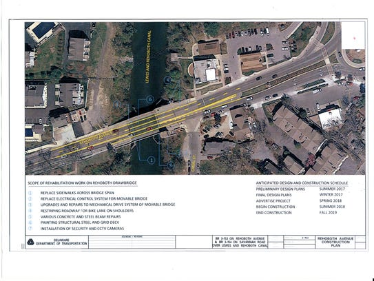 This aerial view displays changes proposed by DelDOT