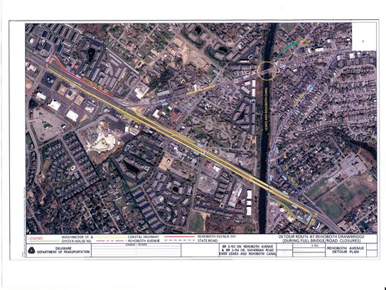 This plan displays a proposed system of detours to