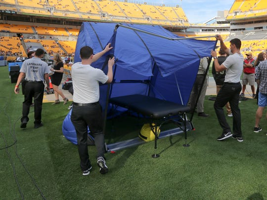 The medical tent for the Pittsburgh Steelers is set