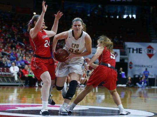 Center Point-Urbana's Allison Wooldridge drives in