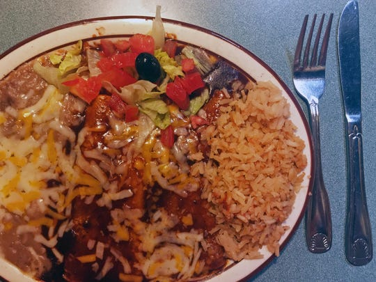 Luncheon special: beef and cheese enchiladas, rice, beans, and salad at Taquito's, 923 N. Main St., Salinas