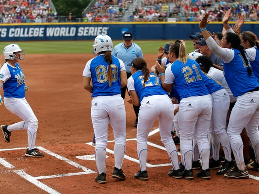 UCLA celebrates a Kylee Perez home run in the first inning during the Women's College World Series softball game between the Texas A&M and UCLA at ASA Hall of Fame Stadium in Oklahoma City, Saturday, June 3, 2017. (Sarah Phipps/The Oklahoman via AP)