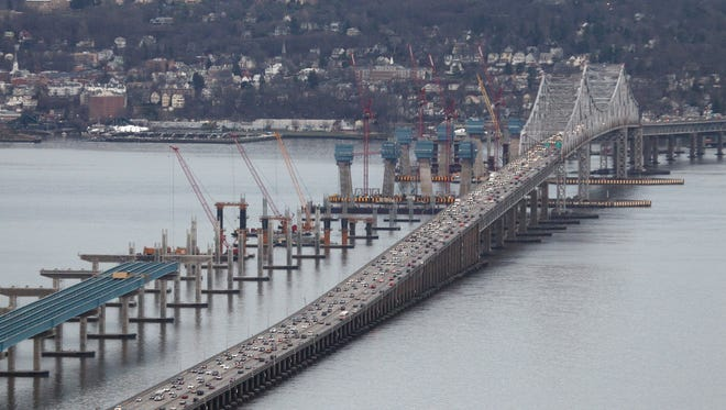 The new Tappan Zee Bridge rises in the Hudson River, next to the current 60-year-old bridge between Tarrytown and South Nyack.