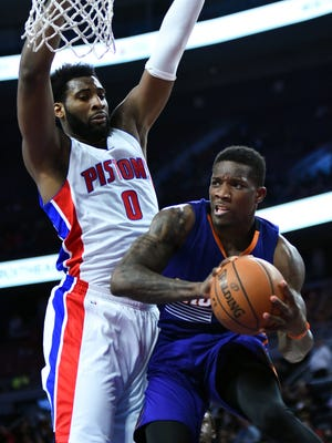 Andre Drummond defends Suns guard Eric Bledsoe during the third quarter of the Pistons' 127-122 overtime win Dec. 2, 2015 at the Palace.