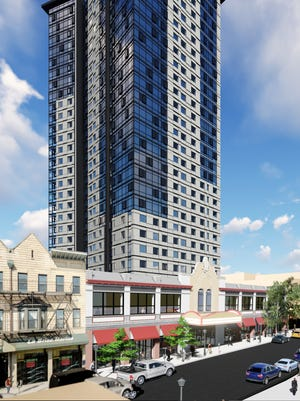 A rendering of the 28-story mixed-use tower at 587 Main St., which broke ground Wednesday.