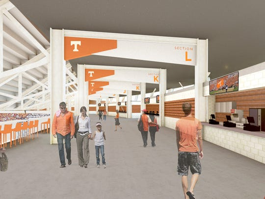 A rendering of the planned improvements to Concourse 2 in Neyland Stadium as of Nov. 2, 2017.