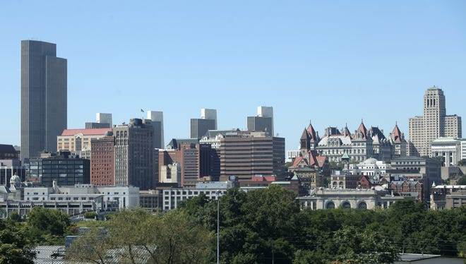 Albany skyline with the New York State Capitol Building at right.