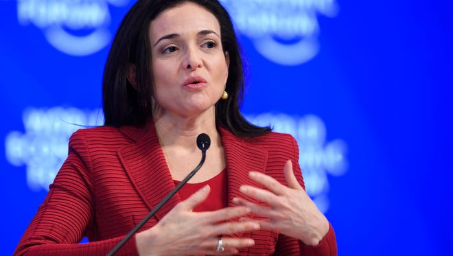 Sheryl Sandberg, Chief operating officer of Facebook, speaks during the World Economic Forum, in Davos, Switzerland, on Jan. 18.