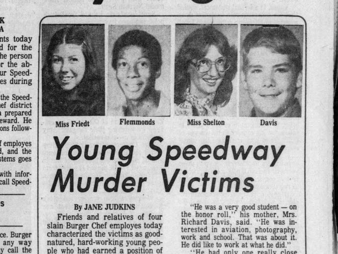 1978 burger chef murders murder speedway unsolved indianapolis shelton jayne ruth friedt star mark young retroindy indy ellen nov