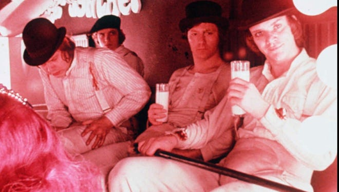 """Actor Malcolm McDowell as Alex alongside his band of thugs in a scene from """"A Clockwork Orange."""" The movie plays March 13 when the Indianapolis Museum of Art hosts Red Beard Event's Dinner and a Movie."""