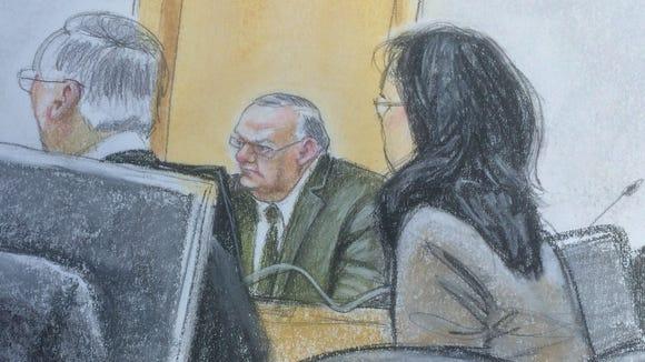 A courtroom artist captured Sheriff Joe Arpaio, center,