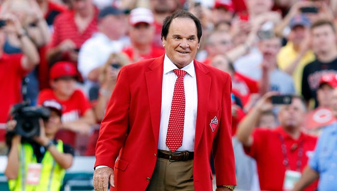 Pete Rose is honored prior to the 2015 MLB All Star Game at Great American Ball Park.