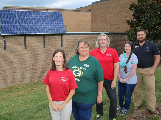 Vol State Sustainability Committee members in front of the new solar panels are, from left, Le-Ellen Dayhuff, Lori Miller, Keith Bell, Brittany Gray and Will Newman.