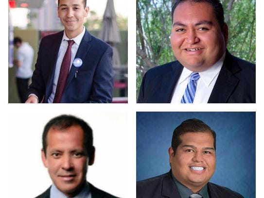 "Members of the Arizona Legislature's newly formed LGBTQ caucus (from top left): State Rep. Otoniel ""Tony"" Navarrete; Rep. Daniel Hernandez; Sen. Robert Meza; and Rep. César Chávez."
