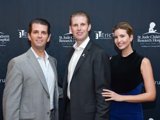 Donald Trump Jr., Eric Trump and Ivanka Trump at Trump