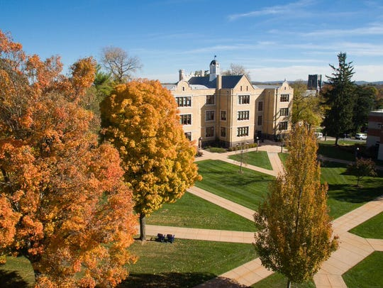 An aerial look at the Humanities building and quad