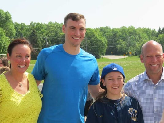 Jordan Young and Family with Brent Suter