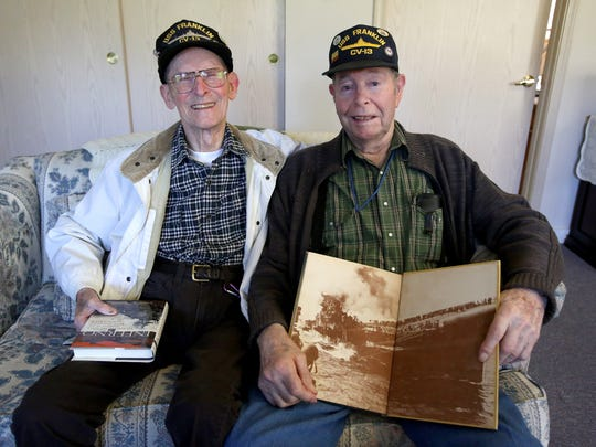 Albert Cole and Donald Nusom both served on the USS Franklin aircraft carrier in World War II. The two had a chance to share stories about the bombing of the carrier on March 19, 1945.