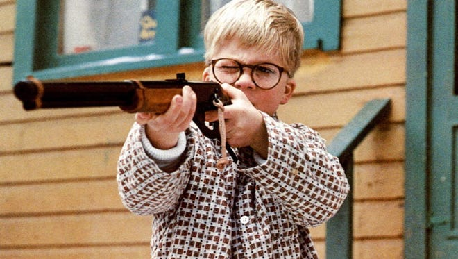 Ralphie (Peter Billingsley) with his brand new Red Ryder air rifle in the holiday classic 'A Christmas Story.'