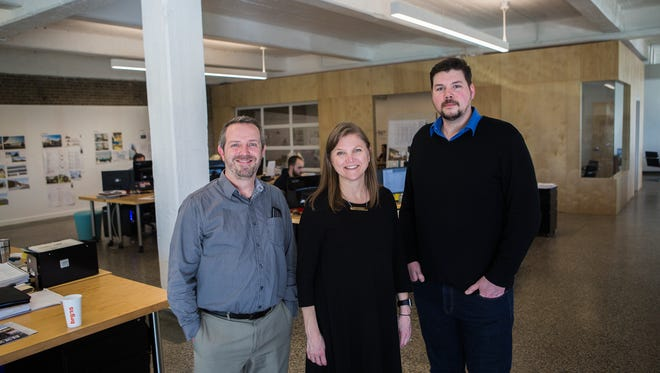 March 6, 2018 - Architects Brett Ragsdale (left), Susan Golden, and Jason Jackson pose for a portrait at brg3s, located at 396 N. Cleveland Tuesday afternoon. Their new office in Crosstown has big windows overlooking Cleveland at Overton Park and has a more urban feel than their old space in the South Main District.