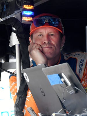 Chip Ganassi Racing IndyCar driver Scott Dixon (9) looks on from his pit box at the Indianapolis Motor Speedway on Sunday, May 21, 2018.