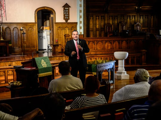 Binghamton Mayor Rich David hosted a public meeting to discuss residents concerns at Town & Country Apartments at the Centenary-Chenango Street United Methodist Church.