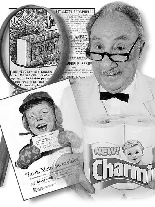 Procter & Gamble illustration by Ron Cosby. P&G was named top marketer of the century by Advertising Age magazine. Products in photo: Ivory ad, Mr. Whipple squeezing Charmin, Crest ad