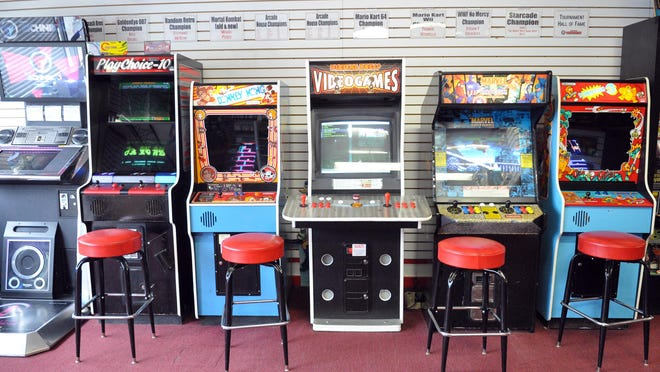 A sampling of arcade cabinets available for play at Digital Press Videogames at 387 Piaget Ave. in Clifton.