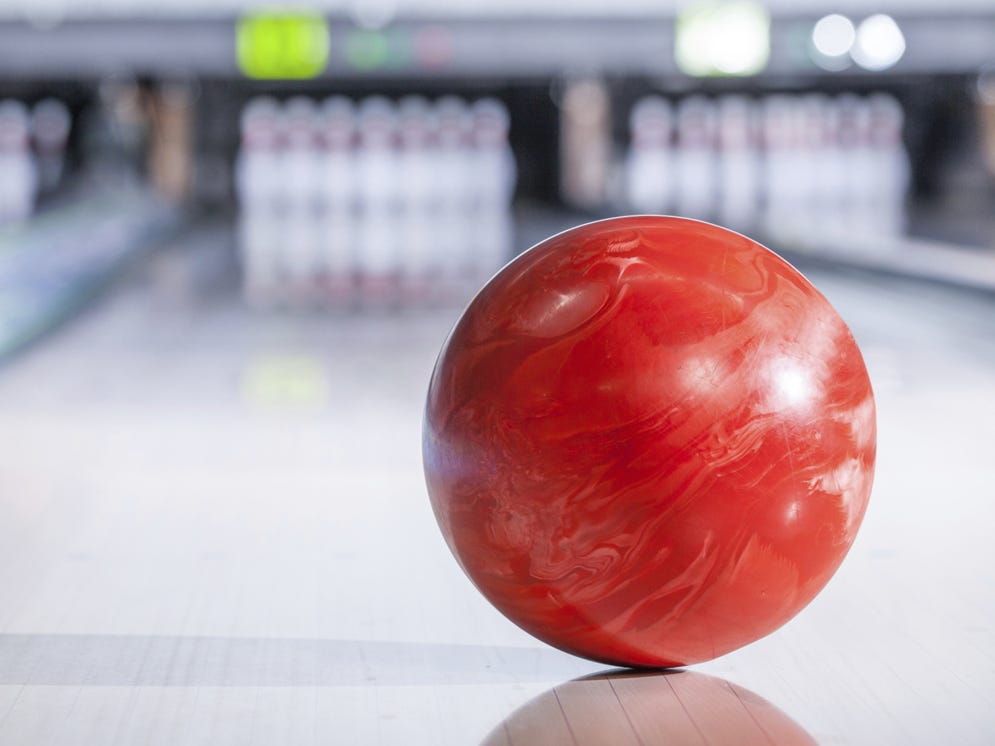 Bowling ball with pins.
