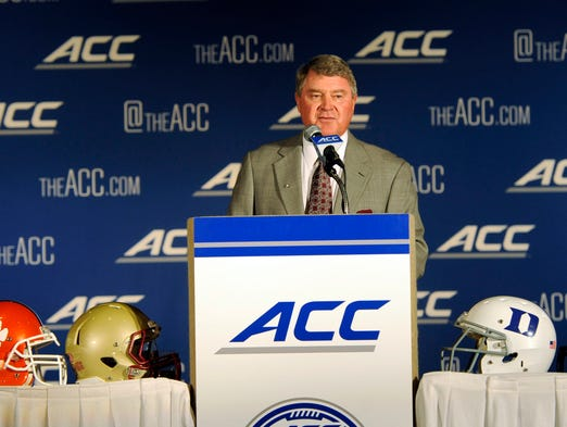 ACC football commissioner John Swofford addresses the media during ACC Media Days at the Grandover Resort in Greensboro, N.C.