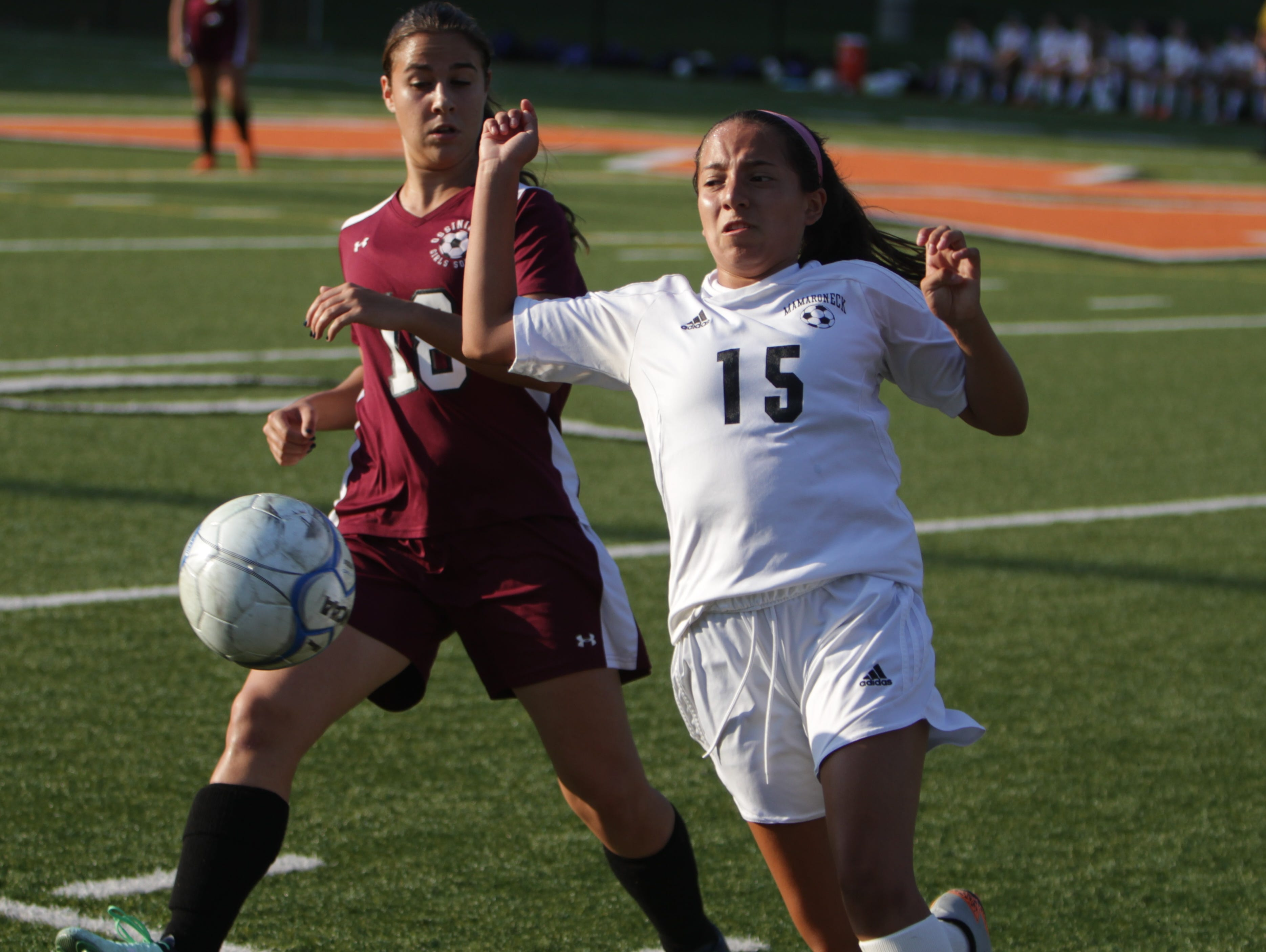 Mamaroneck's Jessica Barrios (15), pictured here in a game against Ossining on September 17th, 2015, against Ossining, had a goal and an assist in her team's 2-1 win over Lakeland on October 3rd, 2015.