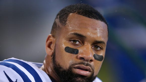 Colts wide receiver Donte Moncrief (10) on the bench during the first half of an NFL football game Monday, Nov. 2, 2015, at Bank of America Stadium in Charlotte, North Carolina.