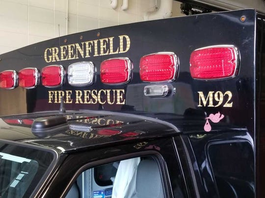 A pink stork emblem was added to the Greenfield ambulance
