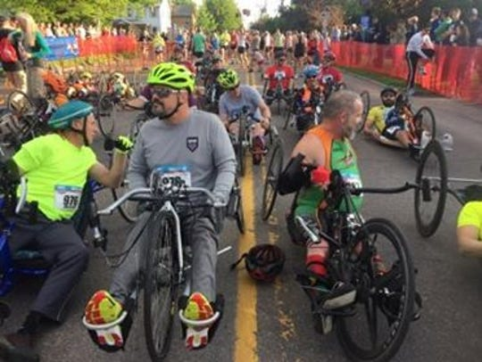 Handcyclists prepare for the start of the Vermont City