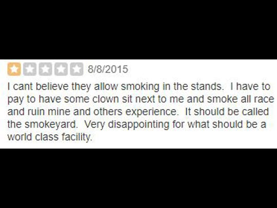 Yelp review of Indianapolis Motor Speedway.