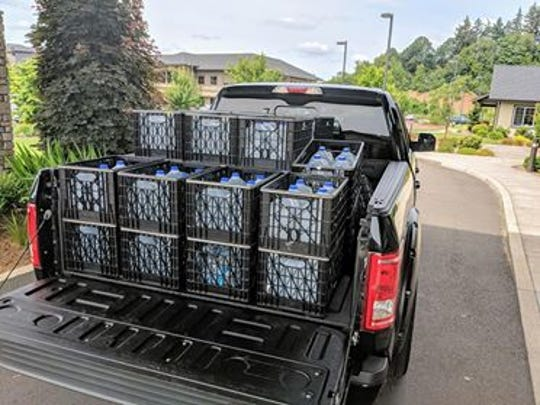 Brett Downes delivered 160 bottles of water to Salem Transitional Care on Wednesday.