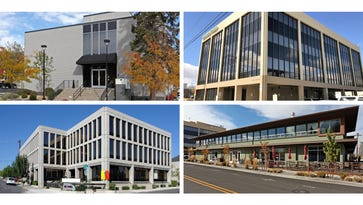 Office buildings acquired by Tolles Development Company include (clockwise) 140 Washington St., 241 Ridge St., 275 Hill St. and 201 W. Liberty St.