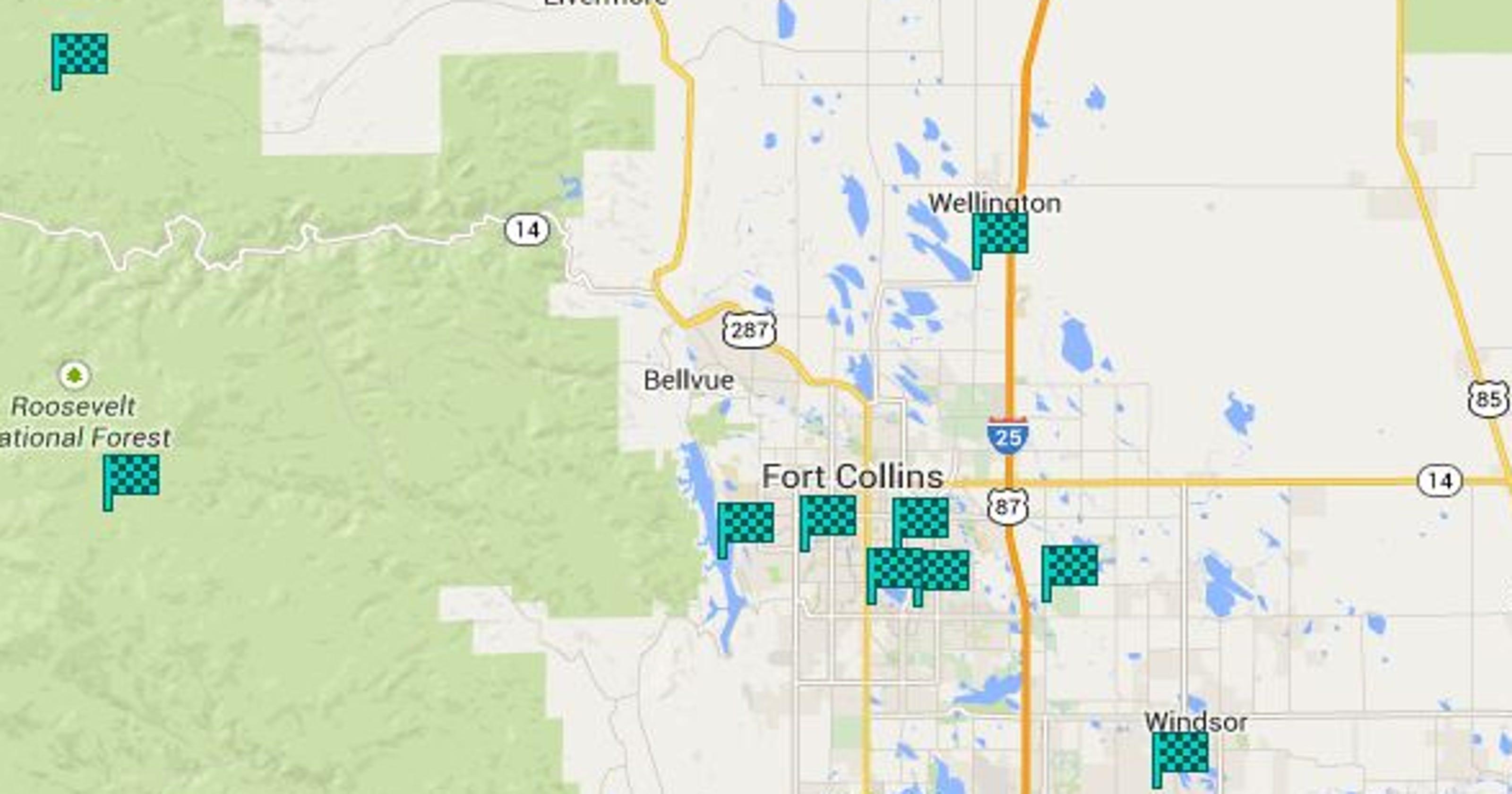 Map Northern Colorado Frisbee Golf